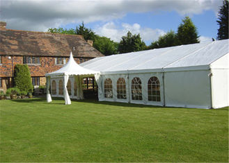 China White Canvas Clearspan Fabric Structures Event Tent With Economical Wooden Flooring supplier