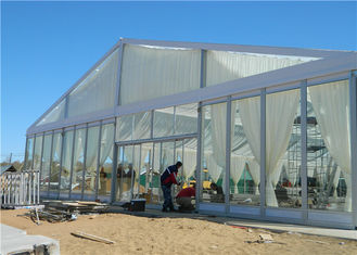 China 15m * 25m Aluminum Frame Structure Glass Tent Wedding With VIP Wooden Flooring supplier