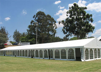 China Waterproof High Peak 12m * 36m Clear Span Tent For Garden Party Fire Resistant Canopy supplier