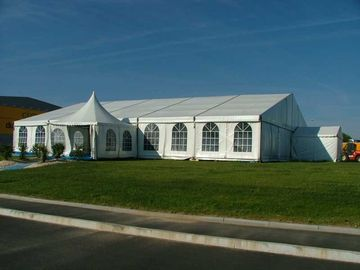 China 300 People High Peak Waterproof Fabric Royal Wedding Banquet Tent With Carpet supplier