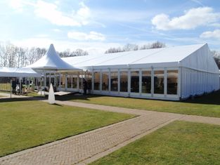 China Glass Wall Clearspan Structure Large Wedding Tents 25x25m Large Party Carpas supplier