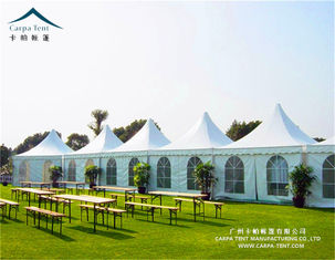 China 5x5m White Exhibition Pagoda Tents With Sidewall High Pressed Aluminum Alloy Frame supplier