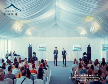 China Huge Outdoor High Peak Pavilion Wedding Party Tent 25 X 30m Decorated With Curtains And Linings supplier
