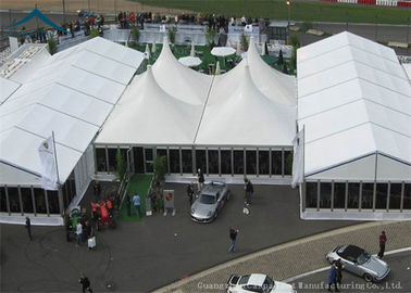 China Water Resistant  20m * 50m Glass Wall Tents With Wooden Flooring supplier