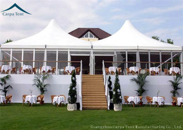China Stander Size High Peak Pagoda Wedding / Party Tent With Glass Wall And Curtains supplier