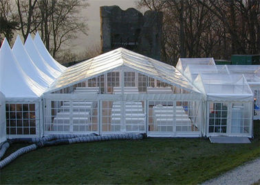 China Clear PVC Fabric Outdoor Party Tents With Wooden Flooring 6m * 10m supplier