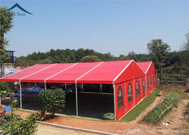 China Aluminium Frame Large Wedding Tents Red Roof Beautiful Lining supplier