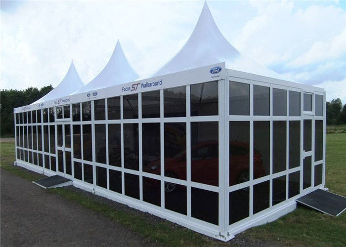 white pvc 5x5m party pavilion tent with french glass wall windows. Black Bedroom Furniture Sets. Home Design Ideas