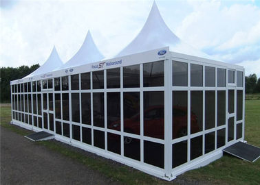 China White PVC 5x5m Party Pavilion Tent With French Glass Wall Windows factory