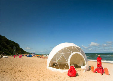 China Wind Proof Fabric Sidewall Geodesic Dome Tent White For Party factory