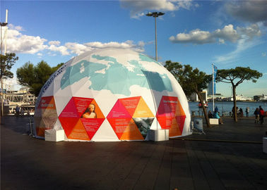 China Custom Outside Geodesic Dome Tent With Steel Frame , 25m Diameter factory