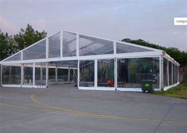 China Clear Cover Fabric Large Wedding Catering Tent With Round Tables , Chairs factory