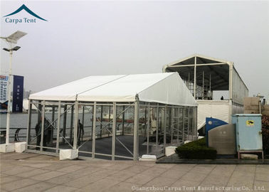 China White PVC Roof Glass Wall Tents With Durable Wooden Flooring 10m * 20m factory