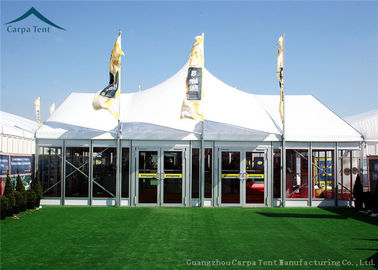 China Width 10m Elegant Mixed Glass Wall Canopy Tent Structures For Outside Events distributor