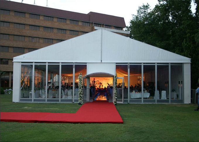 15m * 25m Aluminum Frame Structure Glass Tent Wedding With VIP Wooden Flooring