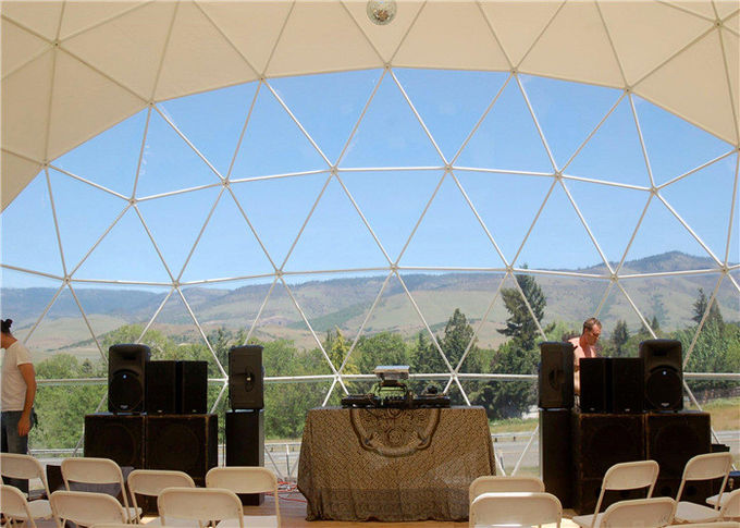 Windproof Geodesic Tent Dome With White Wall For Outdoor Activities