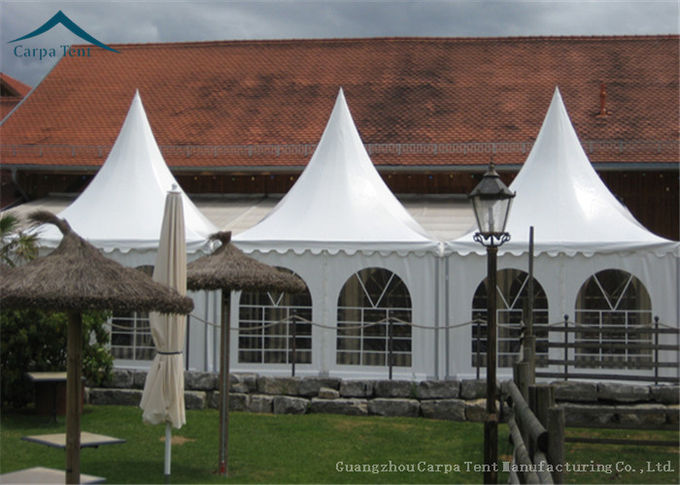 White PVC Fabric Pagoda Shape Outdoor Party Tents Aluminum Structure UV - Resistant