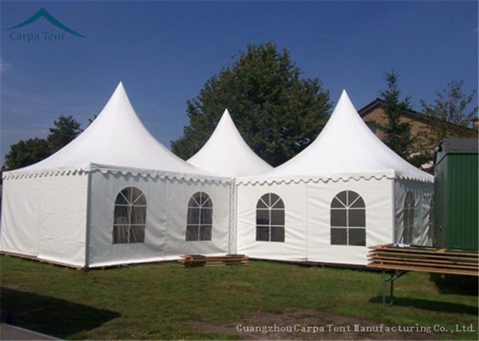 White PVC Fabric Pagoda Tents Large Capacity Tent Clear Windows 6m * 6m