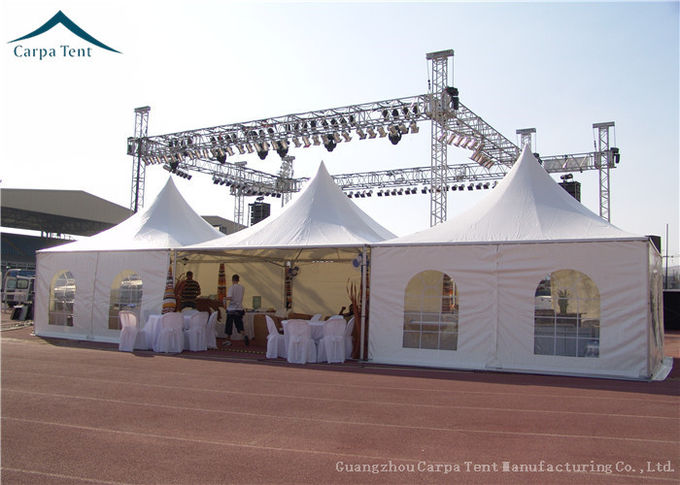 Stander Size High Peak Pagoda Wedding / Party Tent With Glass Wall And Curtains
