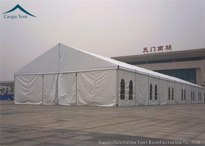500 People White PVC Roof Exhibition Tents With Clear Windows
