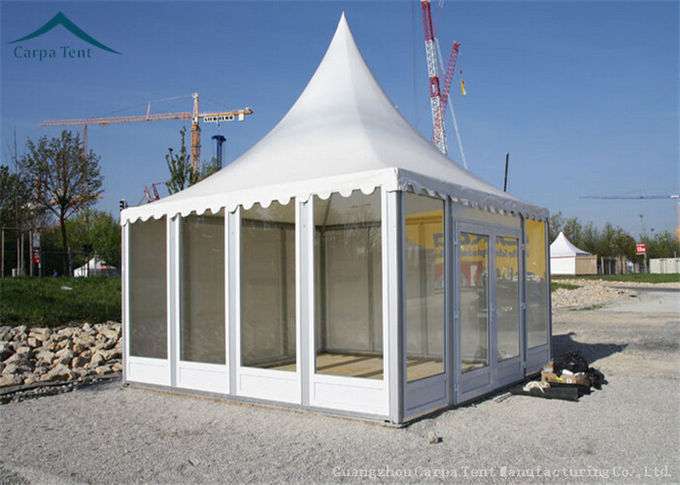 White PVC 5x5m Party Pavilion Tent With French Glass Wall Windows