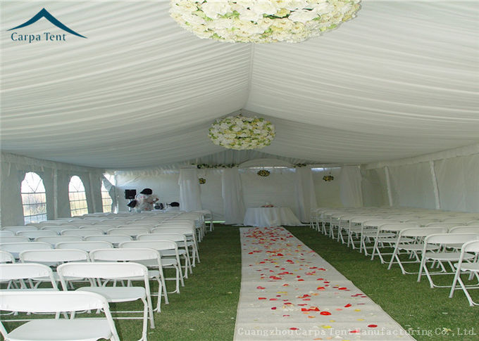 Waterproof White Large Wedding Tents With Roof Linings / Curtains  20m * 50m